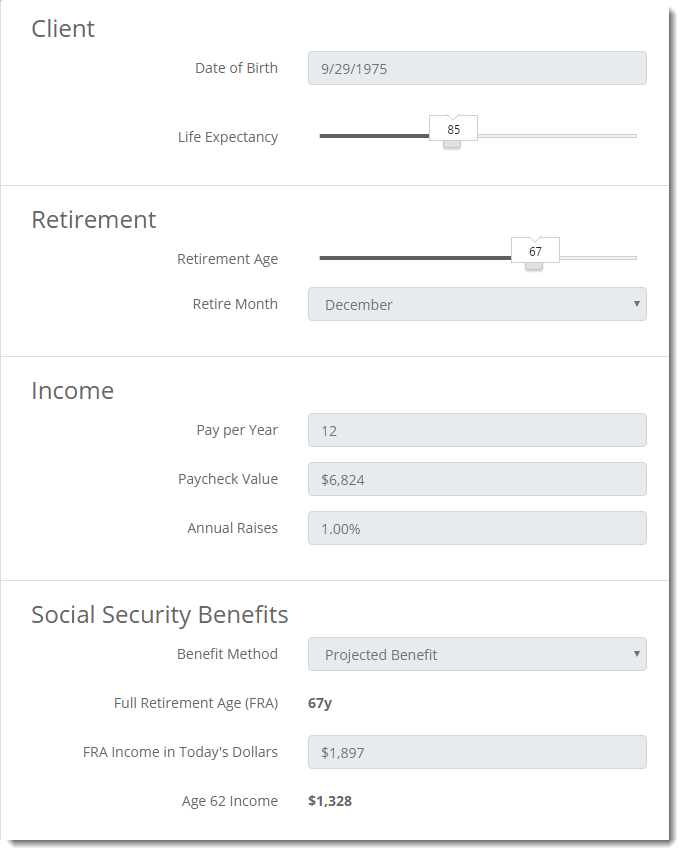 Social Security Planning Input